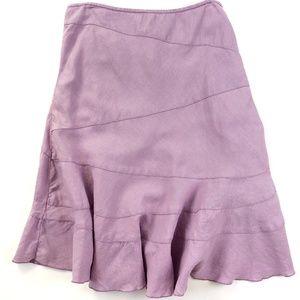 DKNY Purple Linen Tiered Flared Career Skirt 10